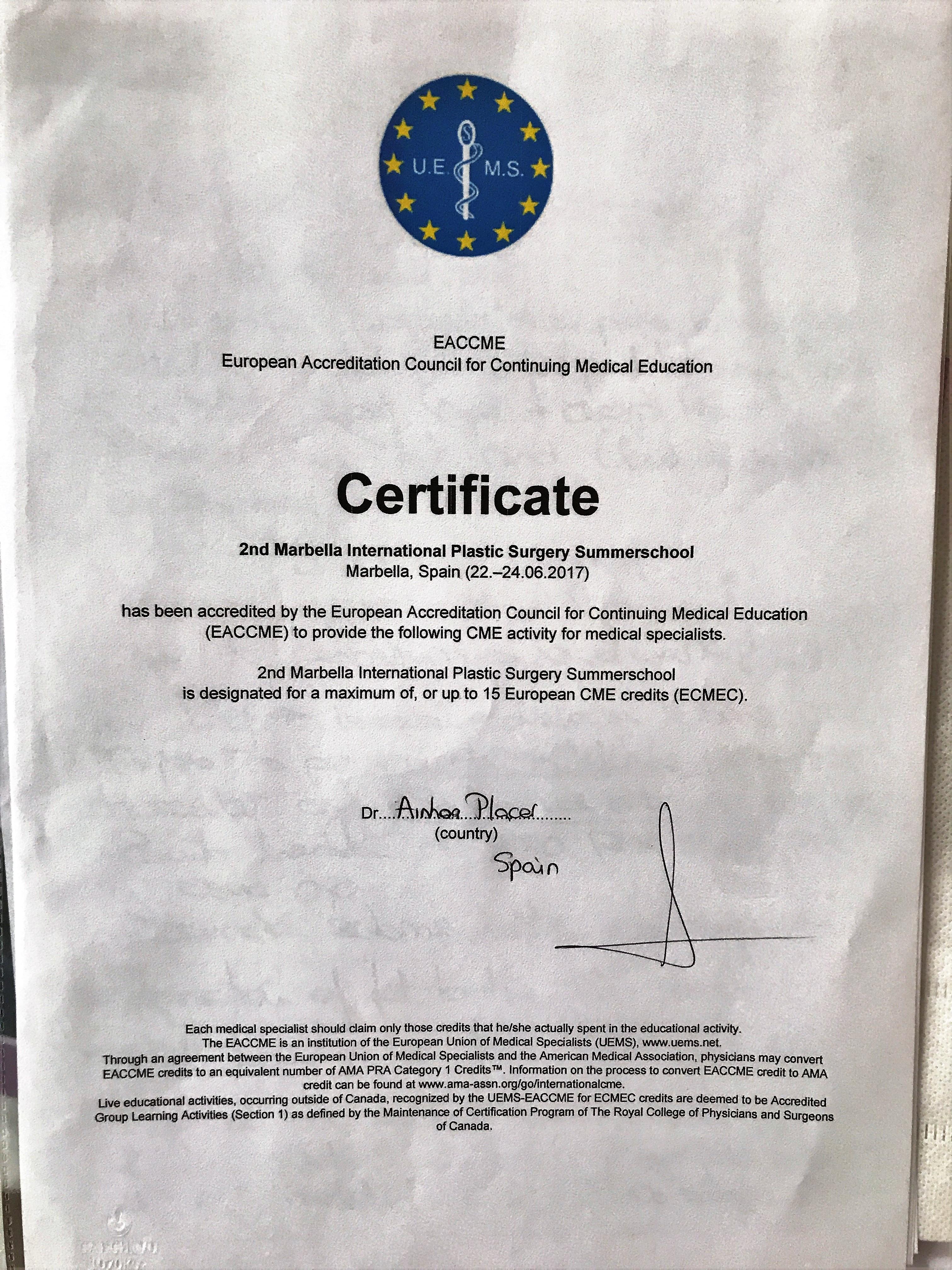 Certificado MIPSS 2017 - Clínica Cirugía Estética Madrid